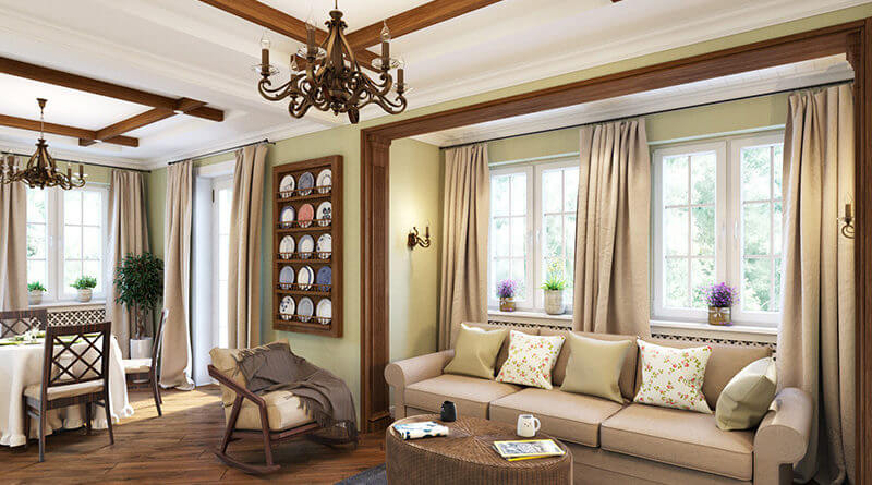 Дизайн интерьера в стиле кантри, спальня