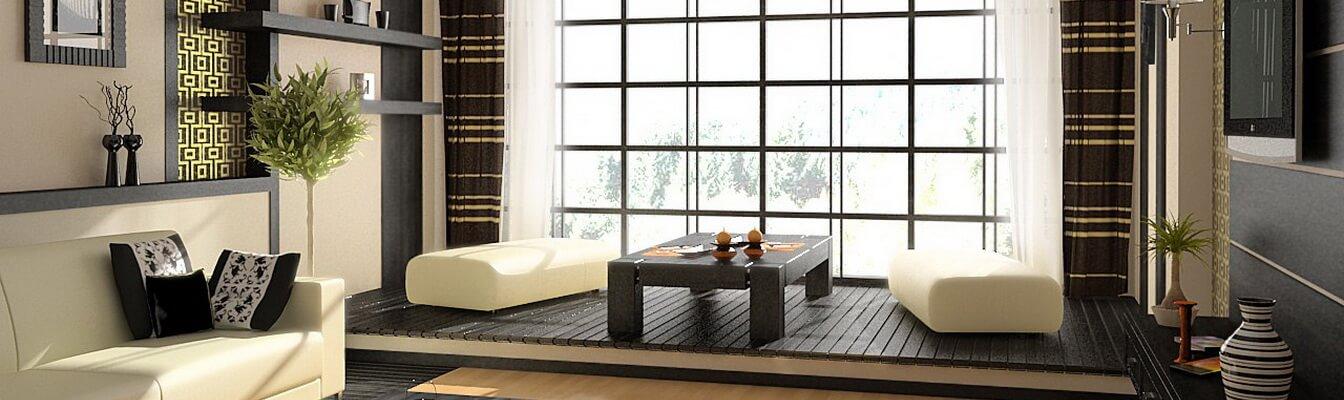 Дизайн японского стиля в интерьере, гостиная