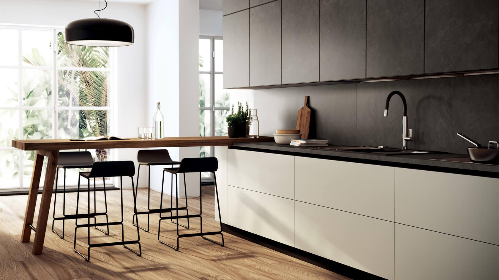 Шкафы без ручек в кухне: достоинства и недостатки