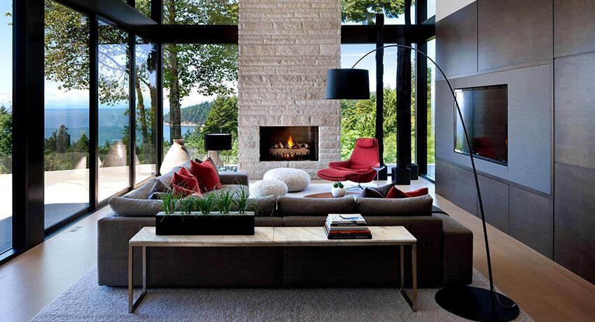 Стиль модерн в интерьере, гостиная