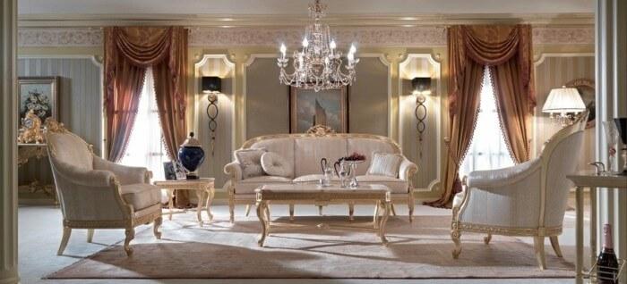 Стиль рококо в интерьере, гостиная