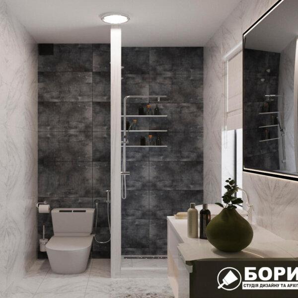 Дизайн интерьера ванной комнаты ул. Куриловская, вид слева
