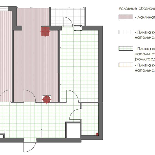 Дизайн интерьера квартиры ЖК «Павловский Квартал», чертеж покрытие пола