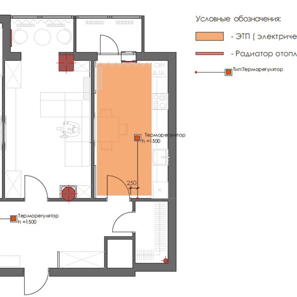 Дизайн интерьера квартиры ЖК «Павловский Квартал», чертеж теплый пол