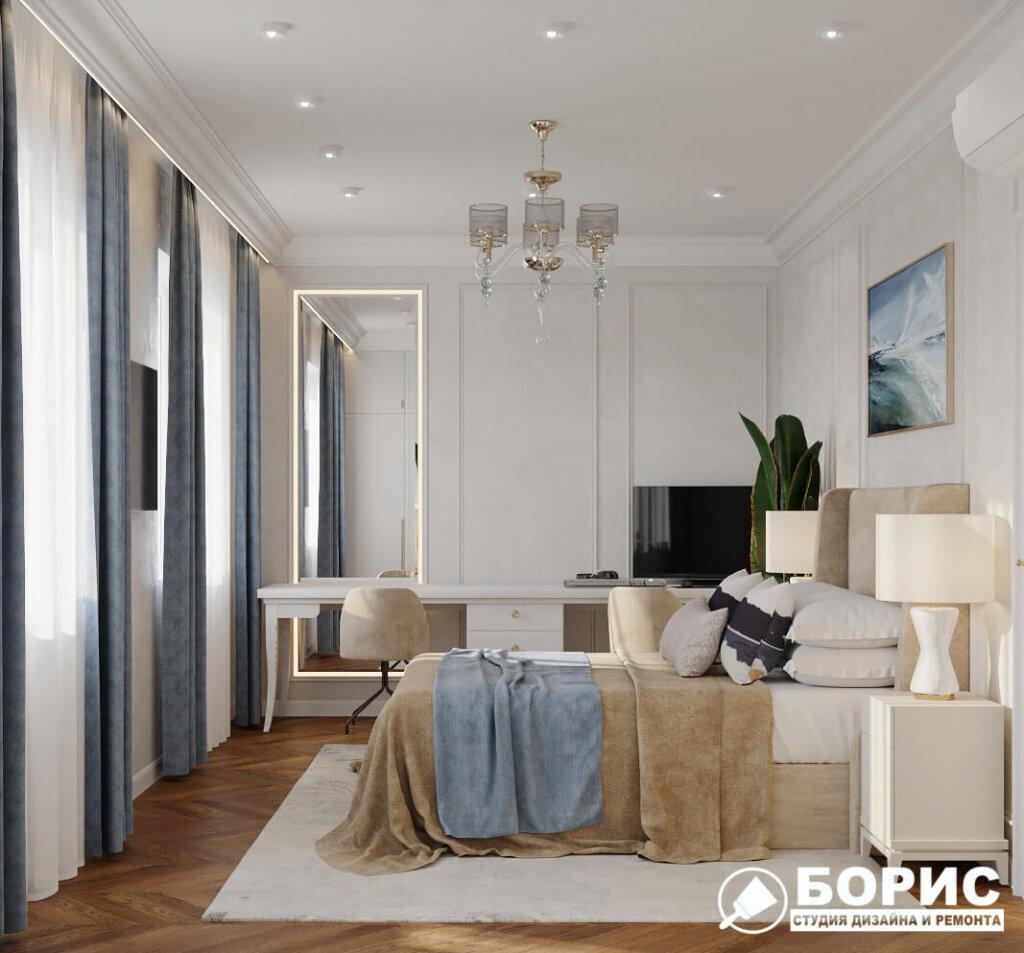 Дизайн интерьера квартиры ЖК «Мира». спальня №2 вид слева