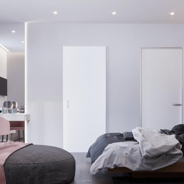 Дизайн интерьера квартиры ЖК «Левада», спальня вид слева