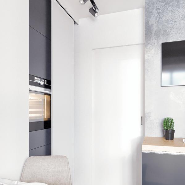 Дизайн интерьера квартиры ЖК «Левада», кухня вид сзади