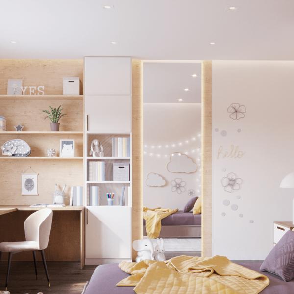 Дизайн интерьера квартиры ЖК «Левада», детская вид сбоку