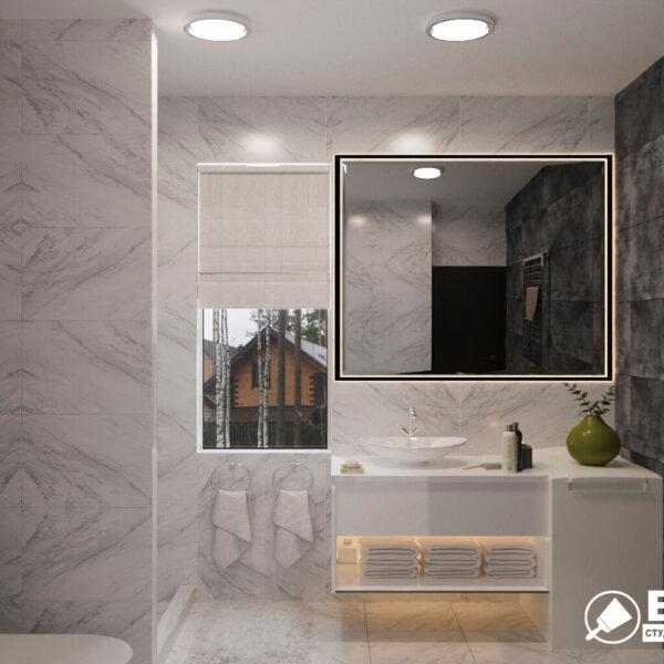Дизайн интерьера ванной комнаты ул. Куриловская, вид спереди