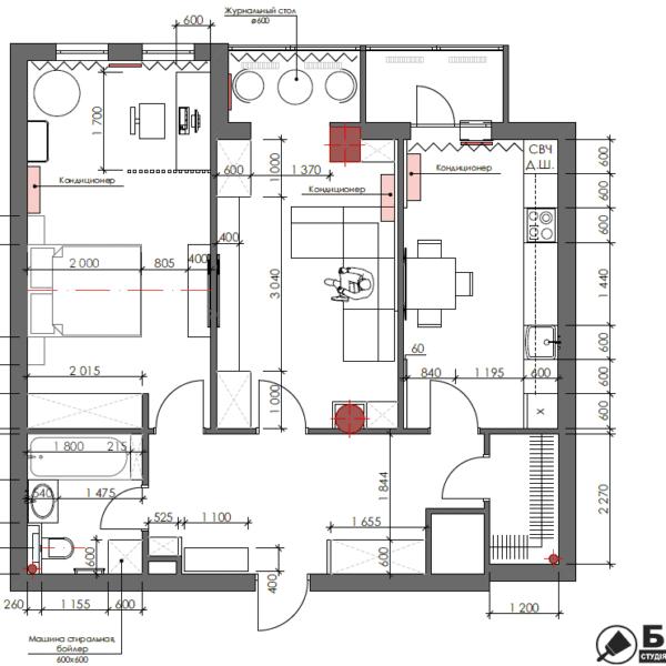 Дизайн интерьера квартиры ЖК «Павловский Квартал», чертеж планировка