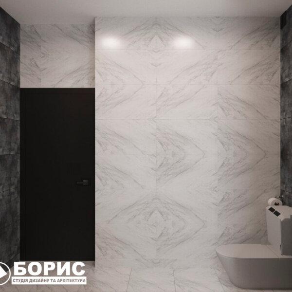 Дизайн интерьера ванной комнаты ул. Куриловская. вид сбоку