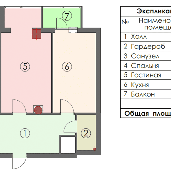 Дизайн интерьера квартиры ЖК «Павловский Квартал», чертеж площадь