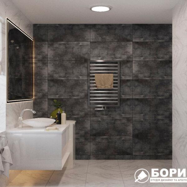 Дизайн интерьера ванной комнаты ул. Куриловская, вид справа