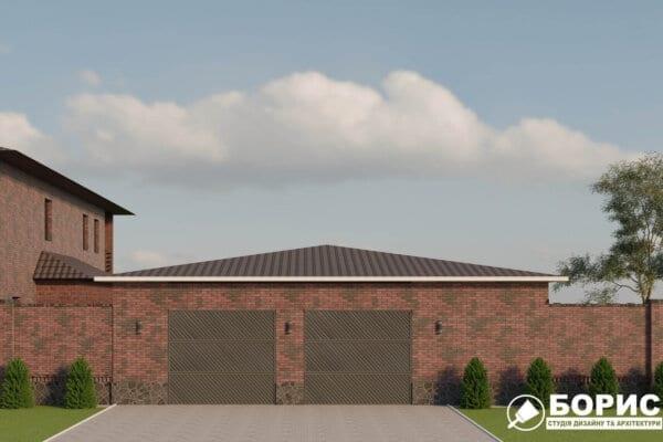 Проектирование гаража, вид спереди