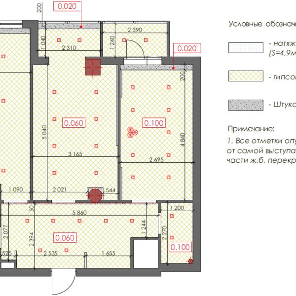 Дизайн интерьера квартиры ЖК «Павловский Квартал», чертеж покрытие стен потолка