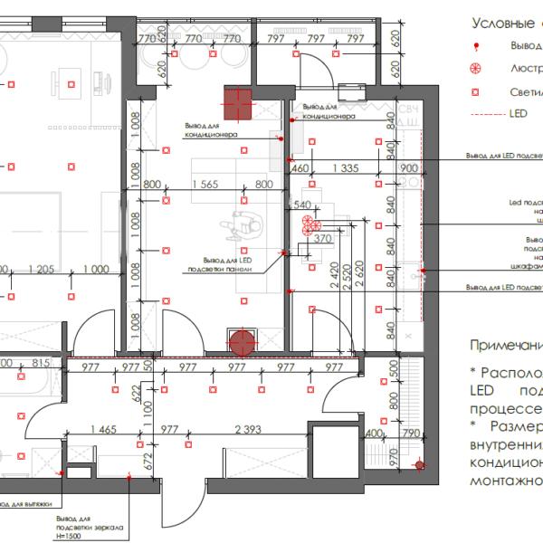 Дизайн интерьера квартиры ЖК «Павловский Квартал», чертеж электричество