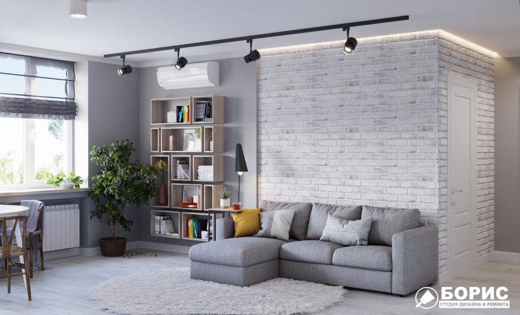 Дизайн интерьера и ремонт квартиры ул. Юрия Паращука, гостиная вид спереди
