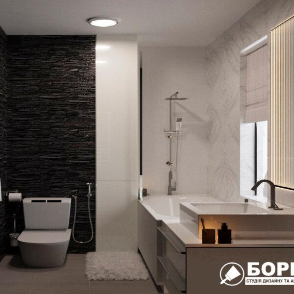 Дизайн интерьера ванной комнаты ул. Куриловская, вид слева фото №2