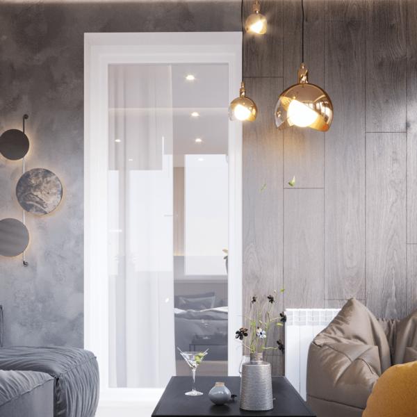 Дизайн интерьера квартиры ЖК «Левада», балкон вид сзади