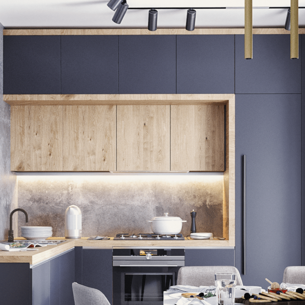 Дизайн интерьера квартиры ЖК «Левада», кухня вид слева