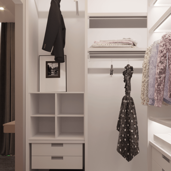 Дизайн интерьера квартиры ЖК «Левада», гардеробная вид слева