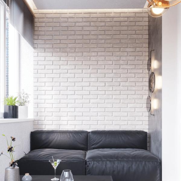 Дизайн интерьера квартиры ЖК «Левада», балкон справа