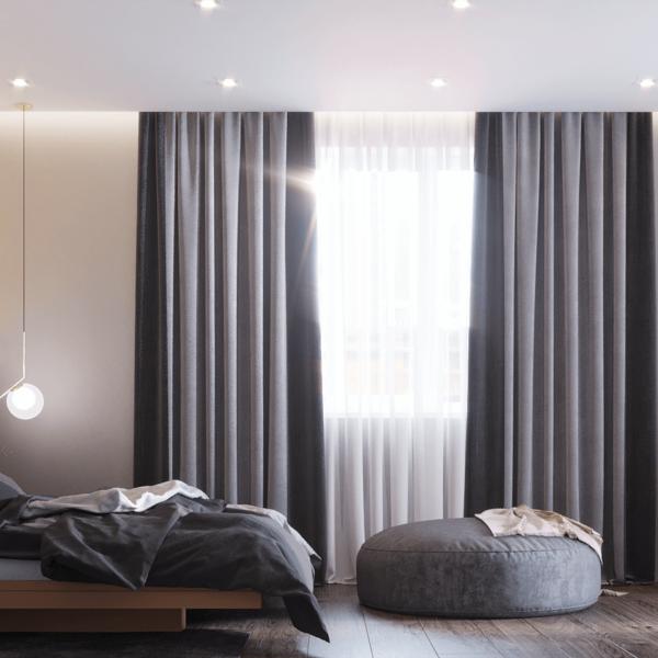 Дизайн интерьера квартиры ЖК «Левада», спальня вид справа