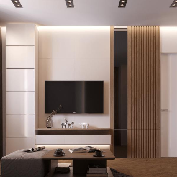 Дизайн интерьера квартиры ЖК «Левада», гостиная вид сзади