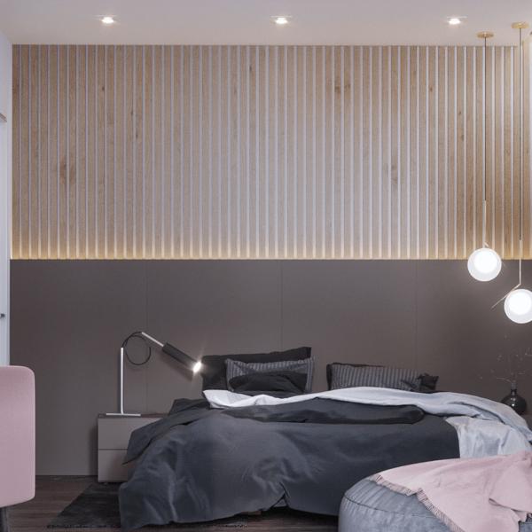 Дизайн интерьера квартиры ЖК «Левада», спальня вид спереди