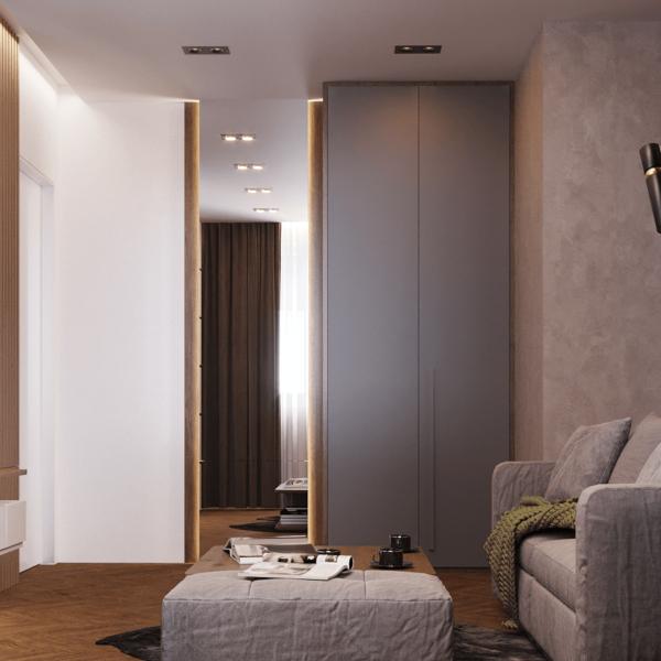 Дизайн интерьера квартиры ЖК «Левада», гостиная вид слева