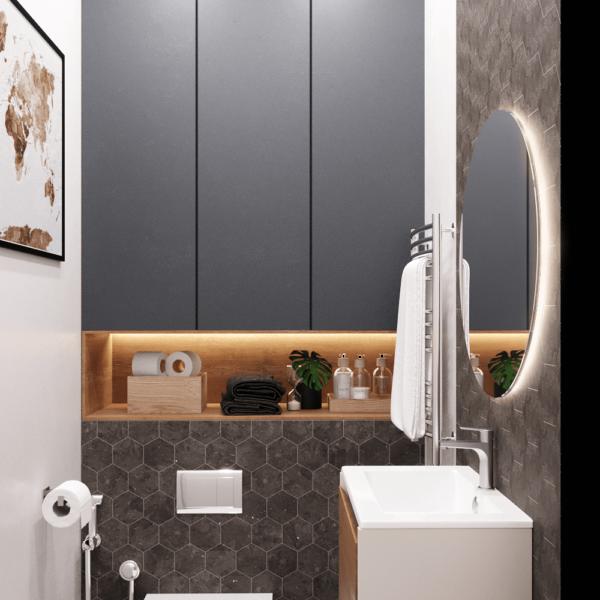 Дизайн интерьера квартиры ЖК «Левада», санузел вид слева