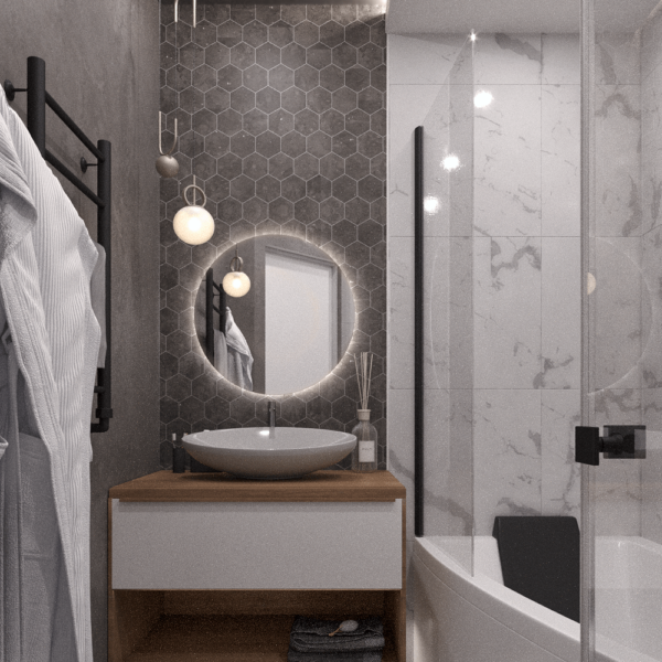 Дизайн интерьера квартиры ЖК «Левада», санузел вид справа