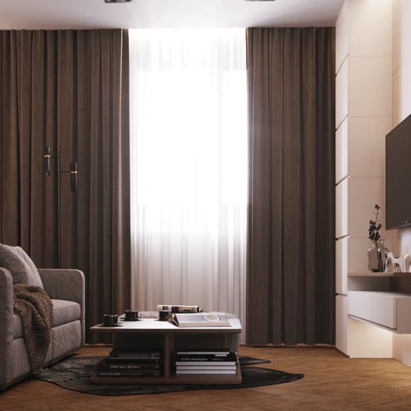 Дизайн интерьера квартиры ЖК «Левада», гостиная вид справа