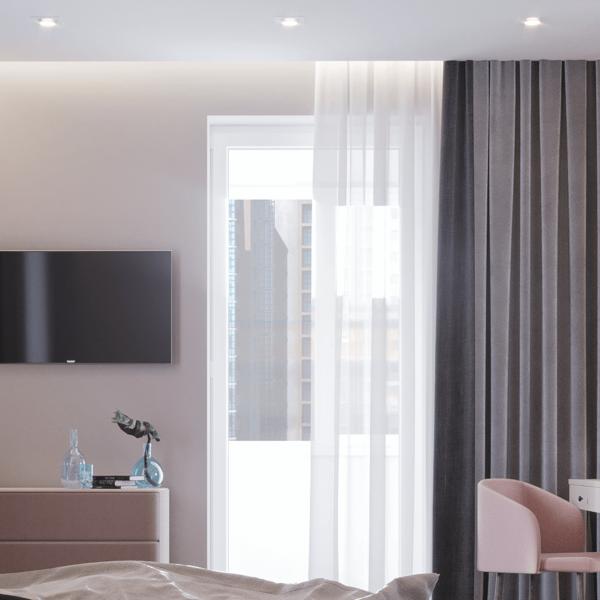 Дизайн интерьера квартиры ЖК «Левада», спальня вид сзади