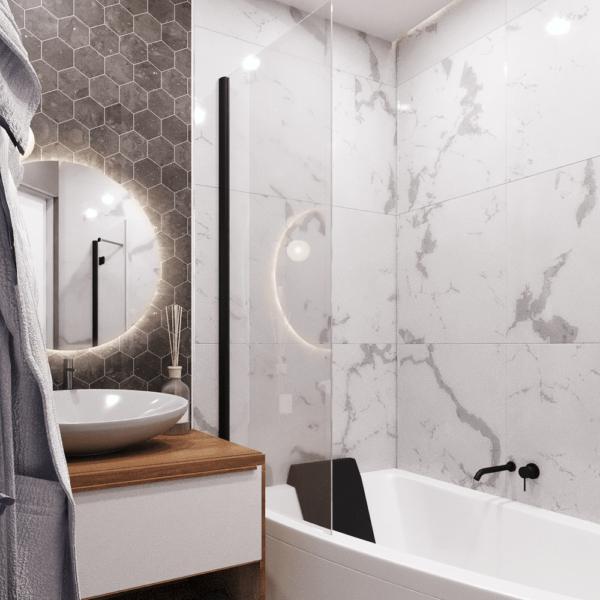Дизайн интерьера квартиры ЖК «Левада», санузел вид сбоку