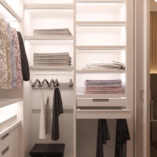 Дизайн интерьера квартиры ЖК «Левада», гардеробная вид справа