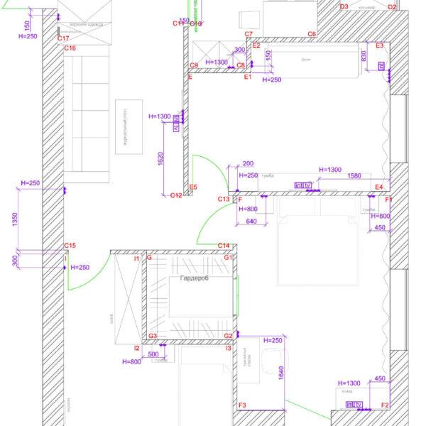 Дизайн интерьера квартиры ЖК «Левада», чертеж фото №13
