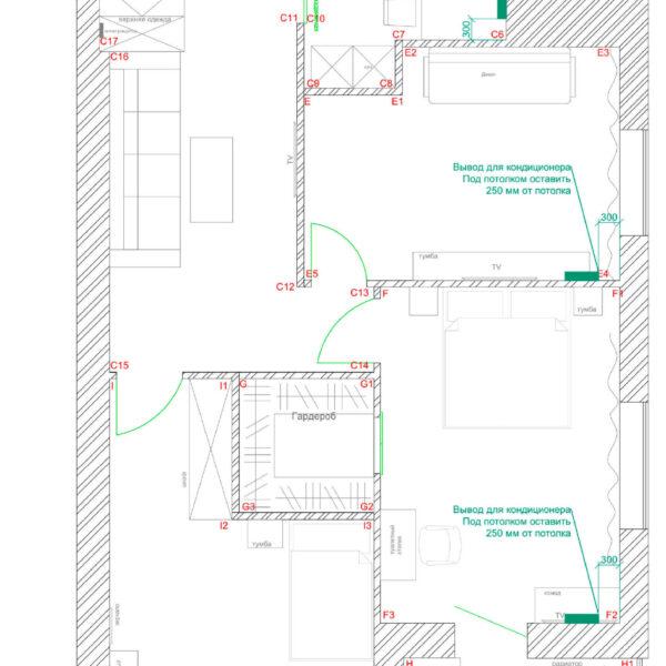 Дизайн интерьера квартиры ЖК «Левада», чертеж фото №14