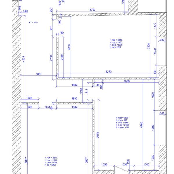 Дизайн интерьера квартиры ЖК «Левада», чертеж фото №1