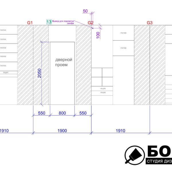 Дизайн интерьера квартиры ЖК «Левада», чертеж фото №20