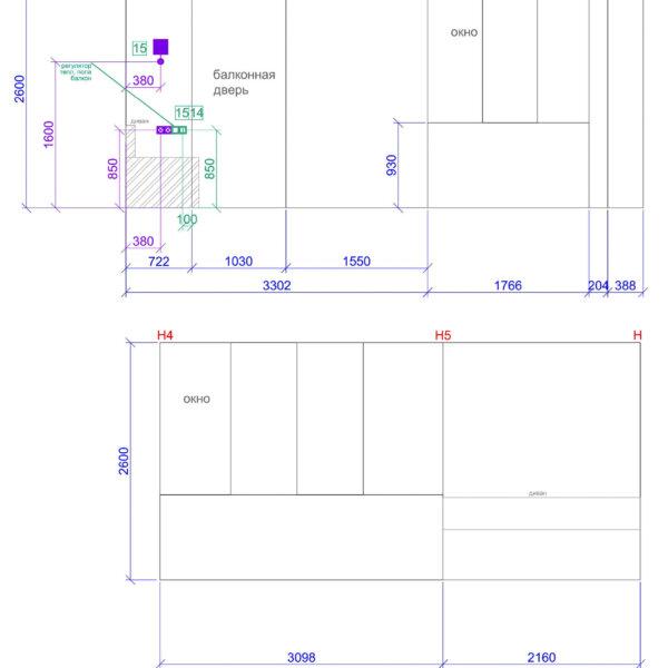 Дизайн интерьера квартиры ЖК «Левада», чертеж фото №21