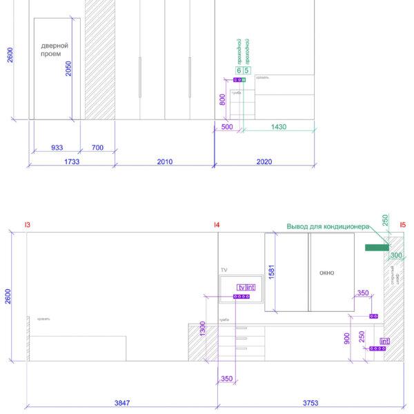 Дизайн интерьера квартиры ЖК «Левада», чертеж фото №22