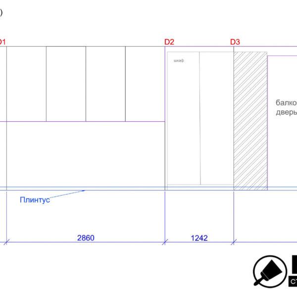 Дизайн интерьера квартиры ЖК «Левада», чертеж фото №27