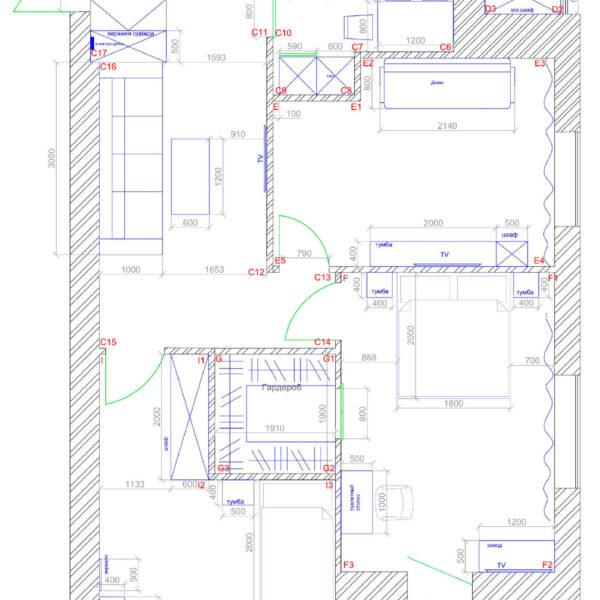 Дизайн интерьера квартиры ЖК «Левада». чертеж фото №4