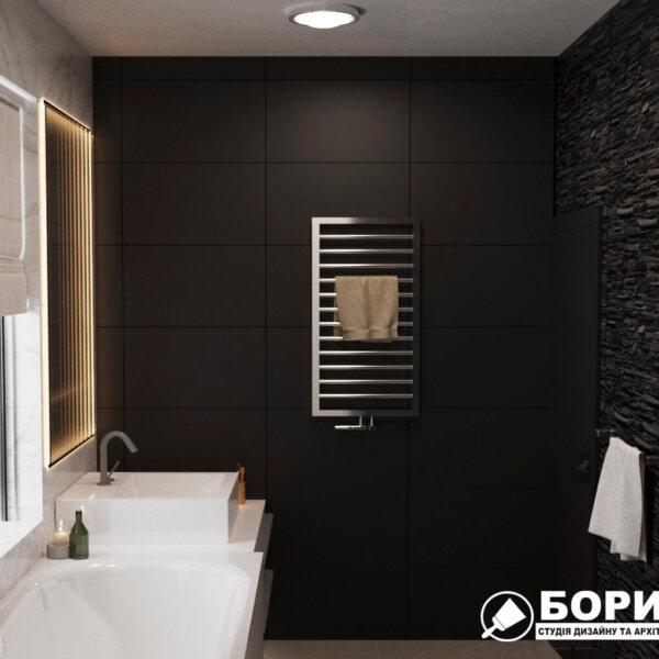 Дизайн интерьера ванной комнаты ул. Куриловская1, вид справа фото №2