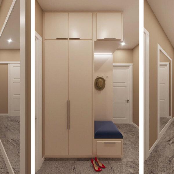 Дизайн интерьера однокомнатной квартиры ул. 12 апреля, коридор