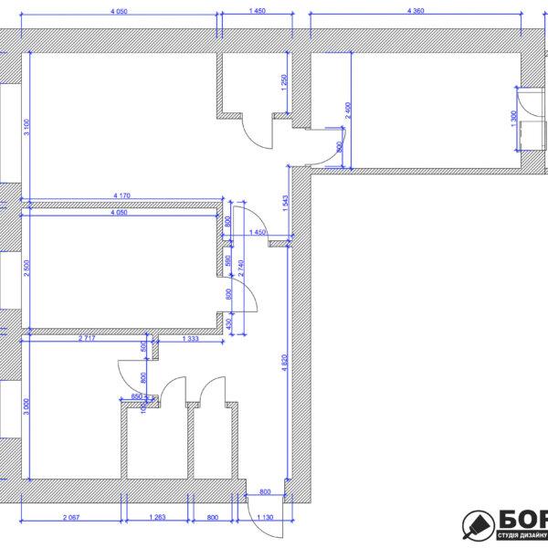 Дизайн интерьера квартиры ул. Юрия Паращука, чертеж с размерами