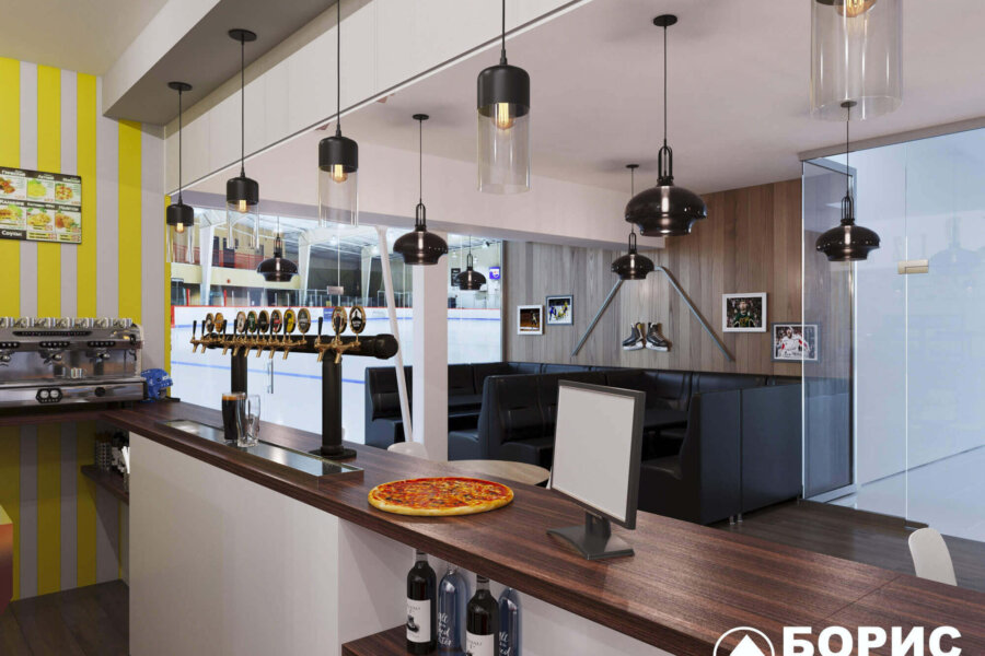 Дизайн интерьера пиццерии «BEKONZ PIZZA» в ТРЦ «Французский бульвар», бар