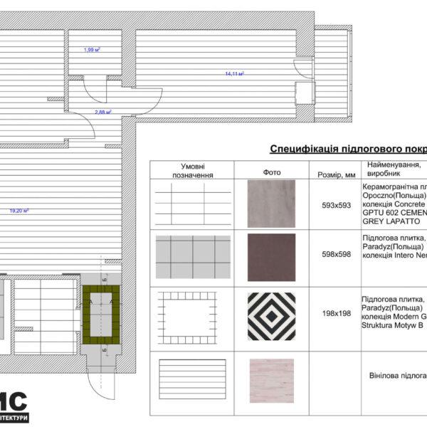 Дизайн интерьера квартиры ул. Юрия Паращука, чертеж спецификация полового покрытия