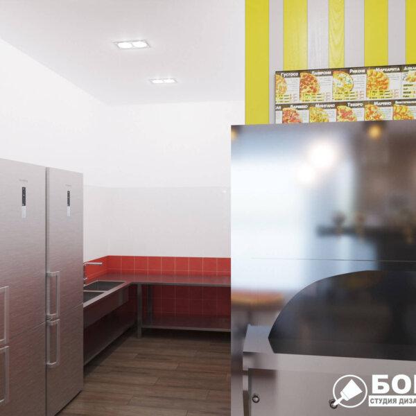 Дизайн интерьера пиццерии «BEKONZ PIZZA» в ТРЦ «Французский бульвар», кухня